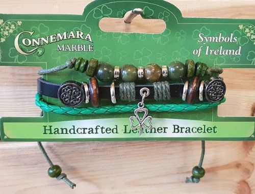 Connemara Marble Celtic Charm Leather Bracelet